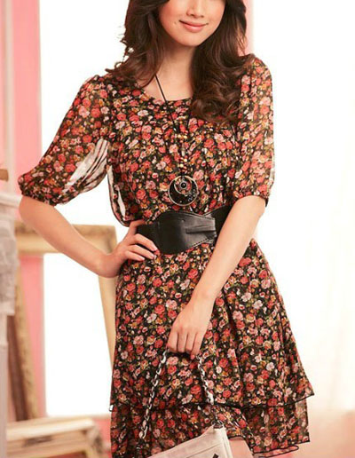 2013 Frühlingsneuheit: geblümtes Kleid aus Georgette