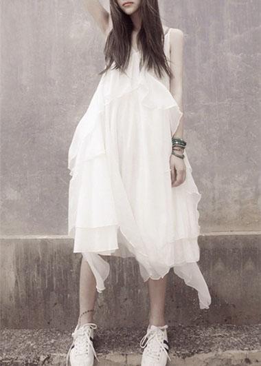 Sommerurlaub neue Bohemian weiß Seide Chiffon Schlinge Kleid